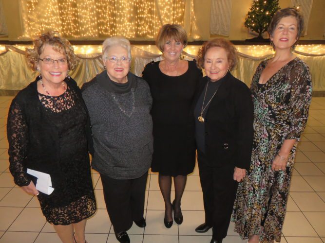 """WRAPPINGUPTHE2017 SEASON — The Ohio Valley Music Guild presented the last of three annual programs on Nov. 19 at St. Florian Hall in Wintersville at its annual membership event and """"Simply Strings"""" performance by the Wheeling Symphony Orchestra String Quintet.Guild representatives include, from left, President Judi Gaynor,  board member Barbara Jean Losey, event Chair Debbie Elias, board member Dottie Bossert and Marie-Helene Wilson, first vice president.  -- Janice Kiaski"""