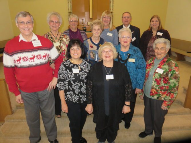 CHAPTERLEADERS — Officers of the Jefferson County Chapter of the Ohio Retired Teachers Association are, front, from left, Dave Nicholson, president; Gina Judy, vice president; Avis Henry, webmaster; and Gloria Renda, Pleasant Hill Schoolhouse Museum; second row, Ann Wiley, reservations; Barbara Carter, publicity; and Barbara Losey, necrologist and historian; and back, Marguerite Andres, treasurer and membership; and Carolyn Piergallini, secretary; Larry Coleman, community service; and Diane Neptune, informative and protective chair. -- Janice Kiaski