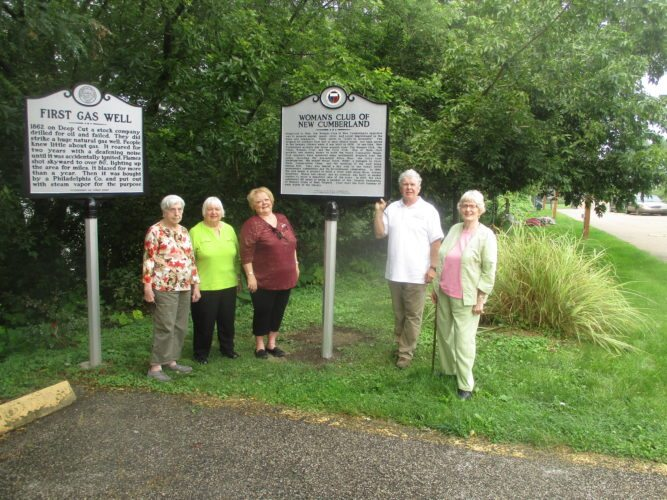 HISTORICALMARKERSADDED — With one of the new historical markers is Community Projects Director George Hines, second from right, and New Cumberland Woman's Club members, from left, Shirley Wineberg, Alice Mitchell, Sharon Neely and Dorothy Hawkes. -- Contributed