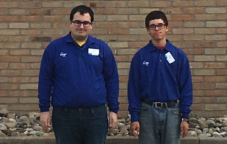 Transition to Work students Zach Daniels and Bryan Mueller are earning experience and class credit by working at the Kroger supermarket in Wintersville. TTW students spend time at area businesses and perform tasks at the JVS as they prepare for jobs in the real world. — Contributed
