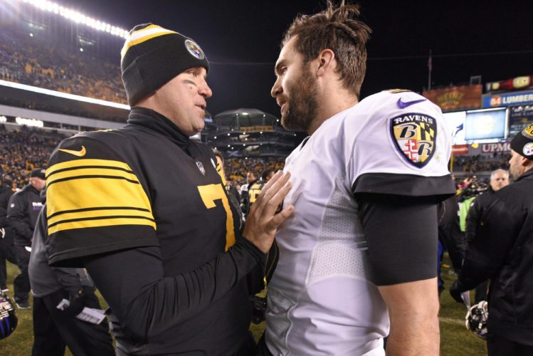 FILE - In this Dec. 25, 2016, file photo, Pittsburgh Steelers quarterback Ben Roethlisberger (7) talks with Baltimore Ravens quarterback Joe Flacco (5) following an NFL football game in Pittsburgh. While many of the faces have changed over the past decade-plus, the stakes and the style of play between the AFC North rivals have not.(AP Photo/Don Wright)