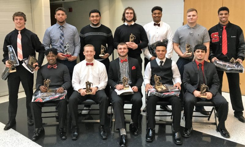 BIG RED HONOREES — Big Red held its 77th-annual football banquet Sunday in the Crimson Commons. Among those receiving awards were from left, seated, Jamal Petteway, Alec Taylor, Johnny Agresta, Javon Davis and Gino Pierro; and standing, Jacob Bernard, Tyler Ely, Marlon Lawrence, Alijah Demitras, Quentin Moore, Reuben Saxon and Jonathon Blackmon. -- Ed Looman