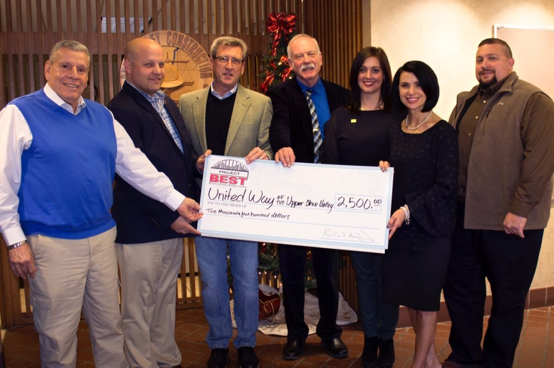Members of Project B.E.S.T. presented the United Way of the Upper Ohio Valley with a check. Among those participating in the donation were, from left, Nick Karras, Karras Painting; Bengy Swanson, Ironworkers Local 549; Mike Carl, H.E. Neumann Co.; George Smolder, executive director of the United Way of the Upper Ohio Valley; Jessica Rine, associate director of the United Way; Ginny Favede, co-chair of Project B.E.S.T.; and Don Teichman, Cattrell Cos. Inc. — Contributed