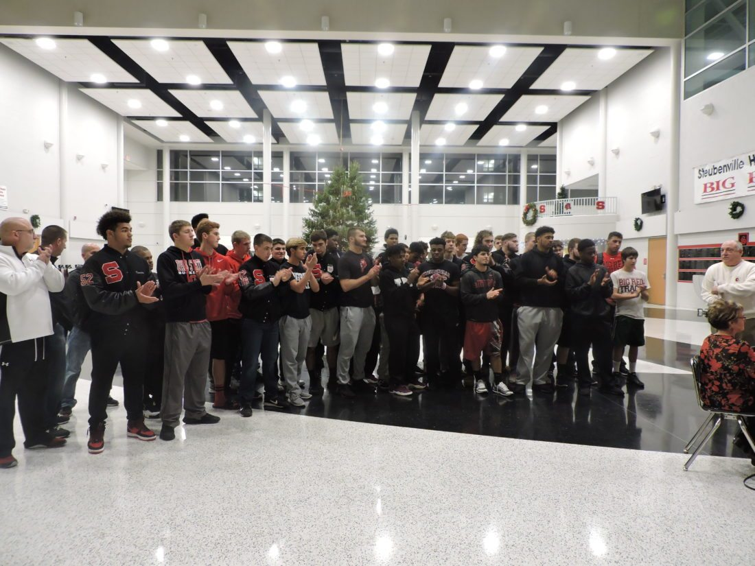 RECOGNIZINGTHECHAMPIONS — Members of the 2017 Division IV State Champion Steubenville High School football team were honored Wednesday night by the city board of education. The team and coaches gathered in the high school commons area for the recognition ceremony. -- Dave Gossett