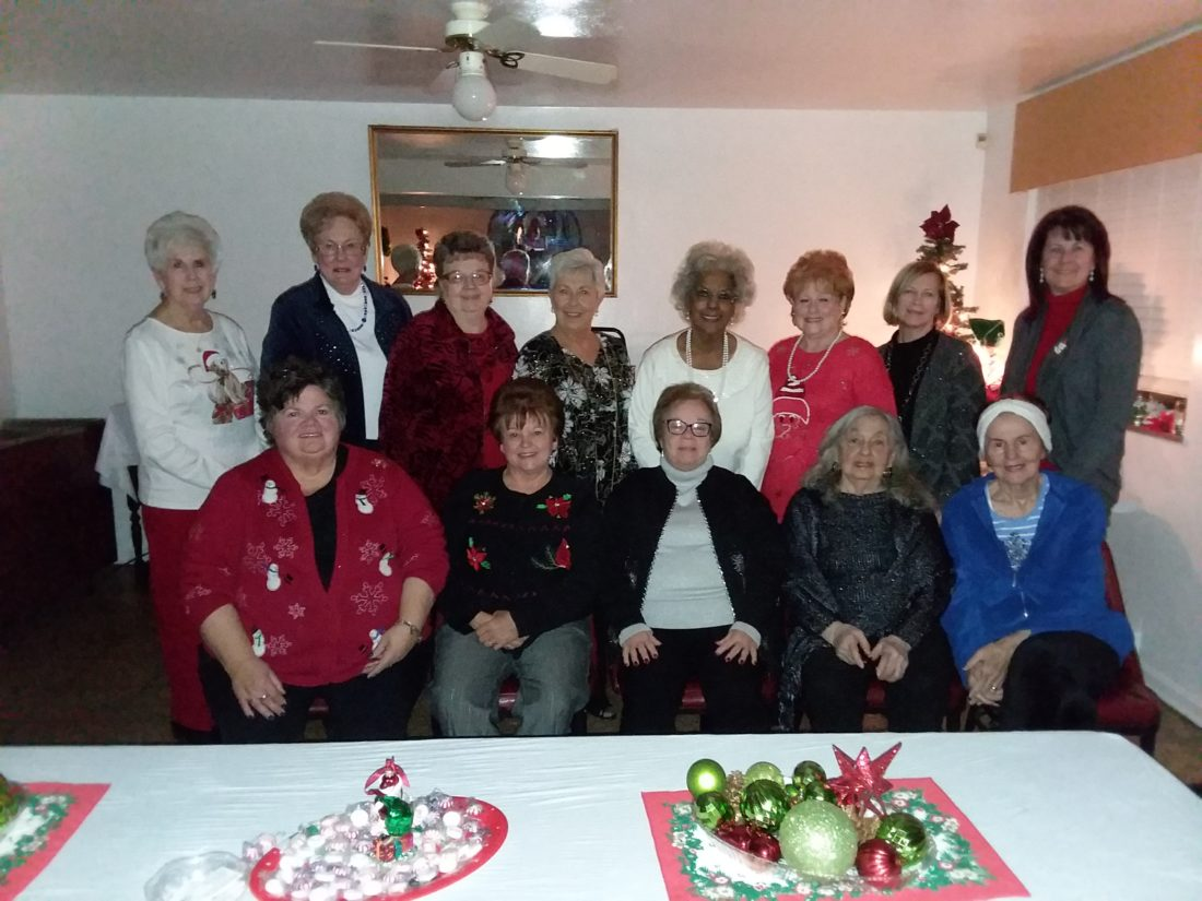ENJOY FESTIVITIES — Members of the GFWC Woman's Club of Mingo who enjoyed the organization's Christmas party were, seated, from left, Shelly Bateman, Stephanie Rouse, Janet Petrella, Stella Finnegan and Joanne Gorney; and standing, Bernie Carpico, Mary Jane Tiberio, Clara Sue Milewsky, Diana Taylor, Roetta Lewis, Sharon Cole-Isner, Pam Pietro and Kathy Maguschak. -- Contributed