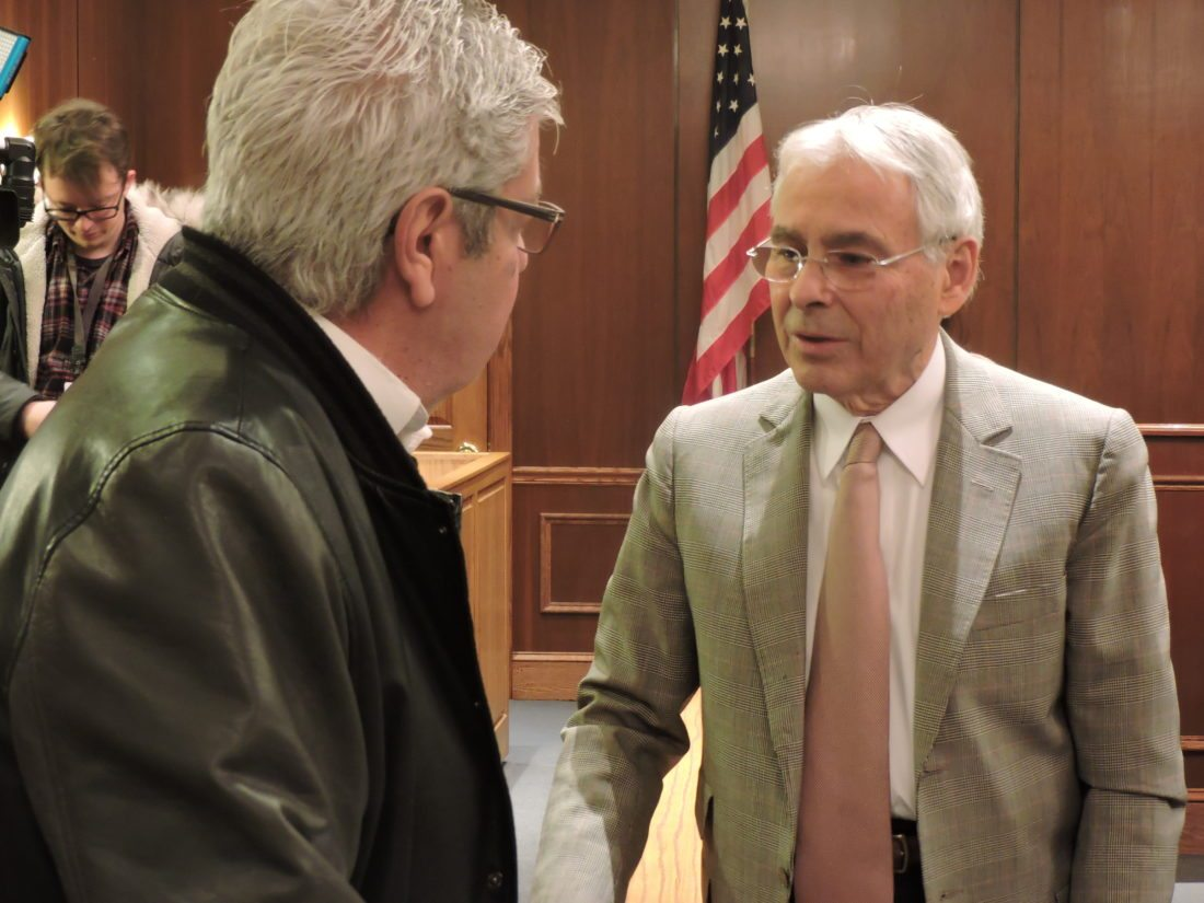 LAST-MINUTE ADVICE — Former Mayor Domenick Mucci, left, offered a few words  of advice to incoming Mayor Jerry Barilla Tuesday night prior to the first  City ...