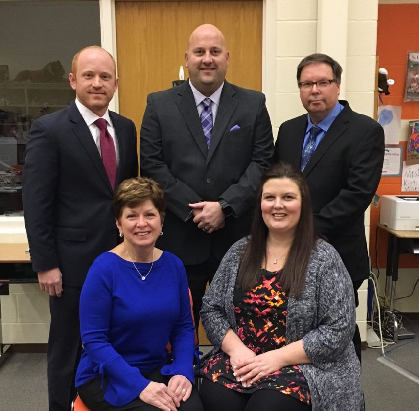 BOARD MEMBERS SWORN IN — Members of the Toronto City School board were sworn into office Thursday evening as the district held its reorganization and first meeting of the year. The board includes, from left, front,  Karen Walker and Julie Ault; and back, Jay Foster, George Dobbs and Randy Henry.-  Julie Stenger