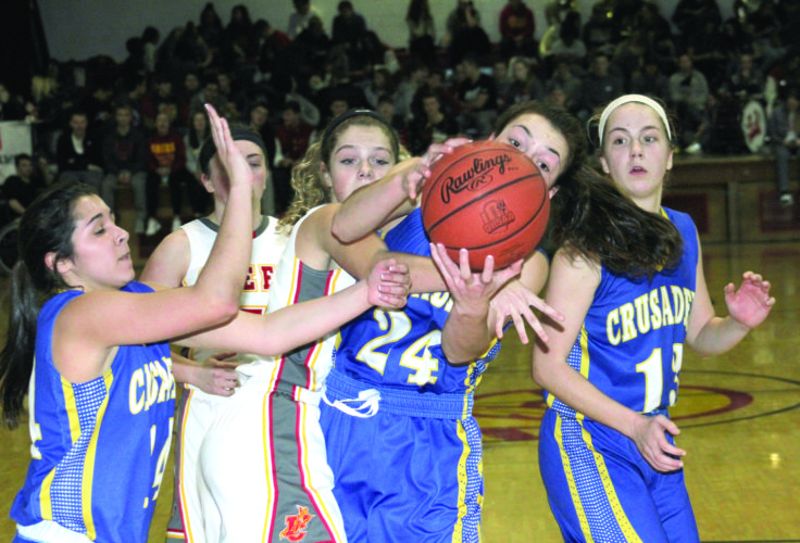 REBOUNDING — Steubenville Catholic Central's Isabella Oliver pulls down a rebound while Indian Creek's Kylie Kiger on Thursday. Also shown are Central's Tia Taglione (14) and Christina Dambrowski (13) as well as Creek's Tera Parrish. (Photo by Joe Catullo)