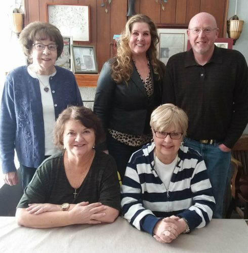 """CHAPTERLEADERS  — Executive officers of the Jefferson County Chapter of the Ohio Genealogical Society are, seated, from left, Naomi Furbee, treasurer; and Judy Schmidt, vice president; and standing, Rena Goss, secretary; Flora L. VerStraten-Merrin, president; and Edward """"Buddy"""" Merrin, senior trustee.  -- Contributed"""