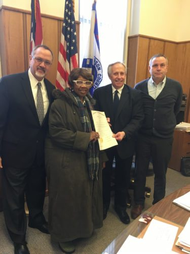 BLACKHISTORY MONTHRECOGNIZED — Jefferson County commissioners on Thursday approved a resolution recognizing February as Black History Month. Participating in the event were, from left, Commissioner Tom Gentile; Delores Wiggins, Ohio Valley Black Caucus president; Commissioner Thomas Graham; and Commissioner David Maple. -- Mark Law