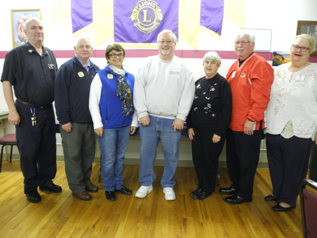 MEETINGHIGHLIGHTS — Dignitaries attending the Brilliant Lions Club dinner meeting on Feb. 1 were, from left, Bill Snyder, Mingo Lions Club president; Steve Thornton, campaigning  for international director; Becky Thornton, district 3 diabetic chairman; Ralph Nickoson, Brilliant Lions president; Becky Cahoon; Tom Cahoon, past district governor; and Terry Snyder, zone 10 chairman.  -- Contributed