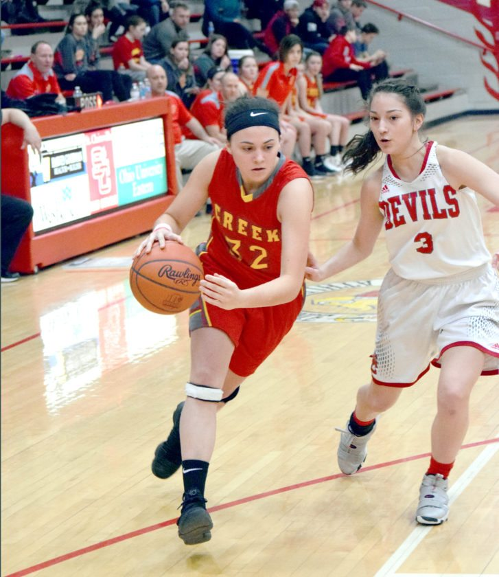 DRIVING — Indian Creek's Mackenzie Orban drives past St. Clairsville's Rileigh Simpson during Monday's game at St. Clairsville. (Photo by Seth Staskey)