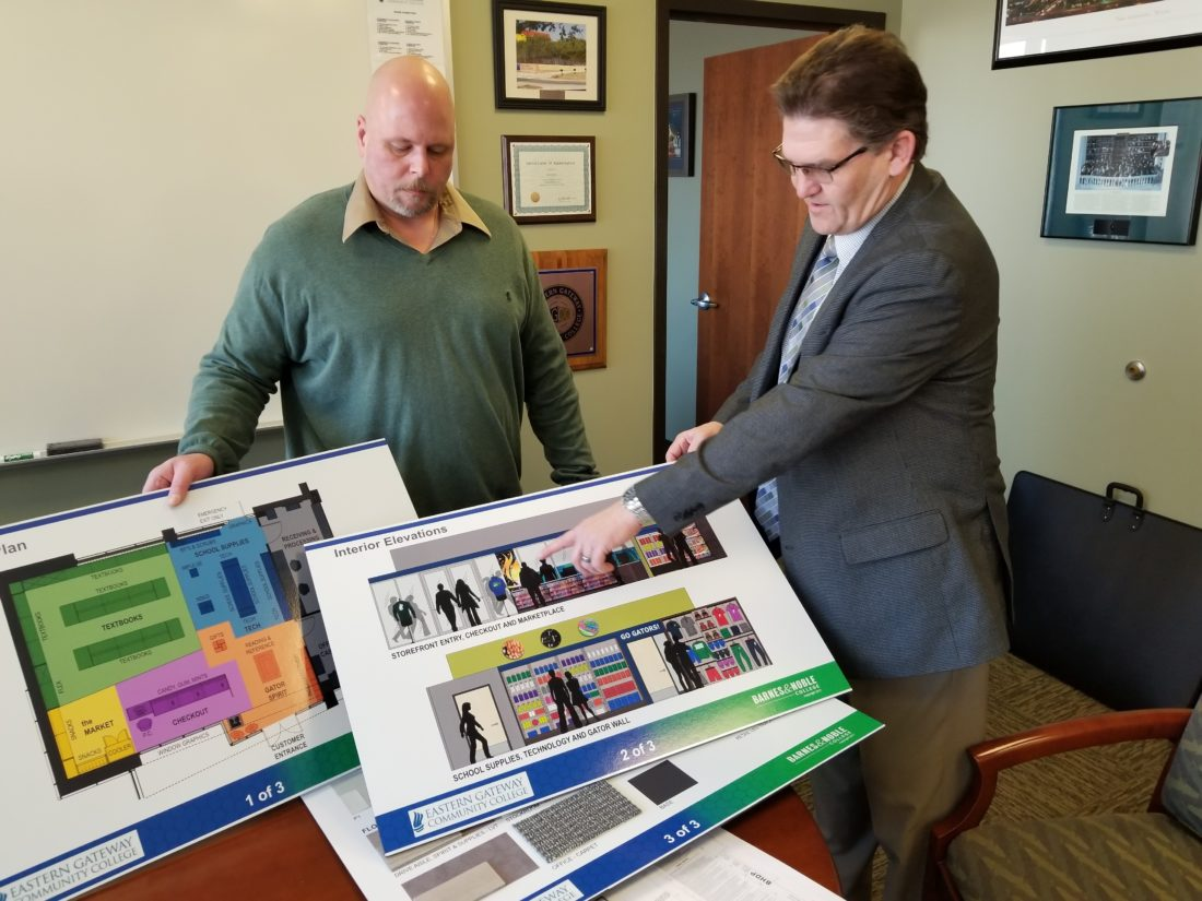EGCC PROJECT — Eastern Gateway Community College is planning a major renovation project to be completed by the start of the fall semester. Looking over plans for the new Student Success Center are Robert Roeschenthaler, chief information officer, left, and college President Jimmie Bruce.  -- Paul Giannamore