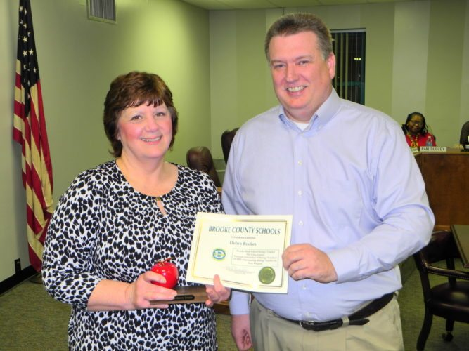GRANT RECIPIENT — The Brooke County Board of Education on Monday recognized Debra Rockey, a science teacher at Brooke High School, for securing a $2,952 state grant to educate students about cardiovascular health and careers in the medical and health fields. With Rockey is Scott Abercrombie, career technical instructor, who noted Rockey also was named the National Association of Biology Teachers Outstanding West Virginia Biology Teacher last year.