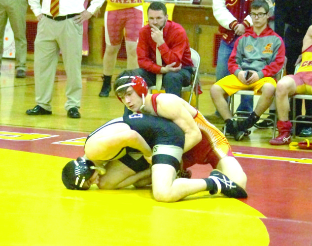 GAINING POINTS — Indian Creek's Brayden Starkey competes against Edison's Sam Shrock in a 152-pound match on Wednesday. Starkey won via pinfall. (Photo by Andrew Grimm)