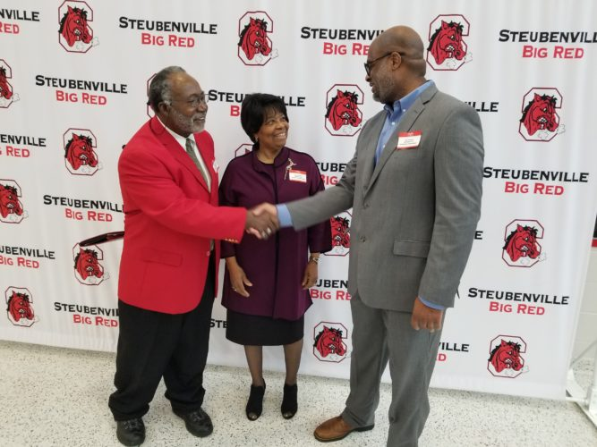 PATHFINDERS FOR 2018 — Steubenville High School held its 26th-annual Pathfinders assembly marking Black History Month by honoring graduates and others who have excelled in life. The 2018 honorees were, from left, Rufus Less Simmons, a 1959 graduate of SHS who has led a career dedicated to education and collegiate athletics and students at the University of Minnesota; Charlene A. Dawkins, local music minister and president of the Women's Ministry of the Greater Zion Temple Family Worship Center in Steubenville; and Sean Patterson, a 1991 SHS graduate who has worked for decades with abused, neglected, dependent and developmentally disabled children, as well as founding the 411 Foundation, which assists children to remain in school and fosters others to return and complete their education. - Paul Giannamore