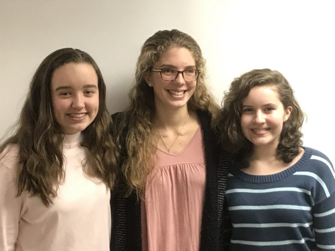 WINNERS — Valley's Got Talent group winner  Celia Mergen, left, and Hannah Mergen, right, is pictured with Leia Hunt, an Indian Creek High School senior who is scheduled to speak at a benefit dinner concert set Thursday at First Westminster Presbyterian Church in Steubenville.