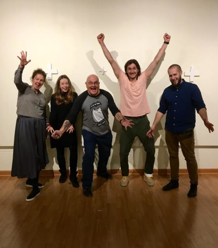NEW EXHIBITION — From left, Martyna Matusiak, Michalena Wawrzyczek-Klasik, Bob Villamagna, Michal Klasik and Artur Masternak are shown in the Nutting Gallery at West Liberty University. The Polish artists are part of new exhibition that continues through March 8.