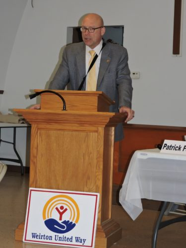 UWCAMPAIGNREPORT — Weirton United Way 2017 Campaign Chair Pat Ford addressed volunteers gathered for the group's third campaign report Friday at the Salvation Army in Weirton. The United Way has collected $220,942.45 of its $260,000 goal for the year. -- Craig Howell