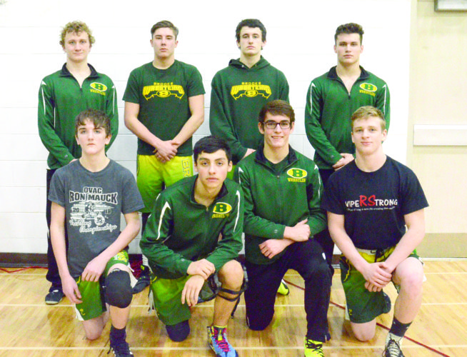 READY TO RUMBLE — Brooke qualified eight individuals for the 71st annual West Virginia state wrestling tournament, which begins Thursday night inside Big Sandy Superstore Arena in Huntington. Pictured are (front, from left) Danny Yost, Andres Ramos, Max Camilletti, CJ Helms; (back) Gage Barnhart, Dalton Yost, Billy Dewall and Kenton Conley. (Photo by Kim North)