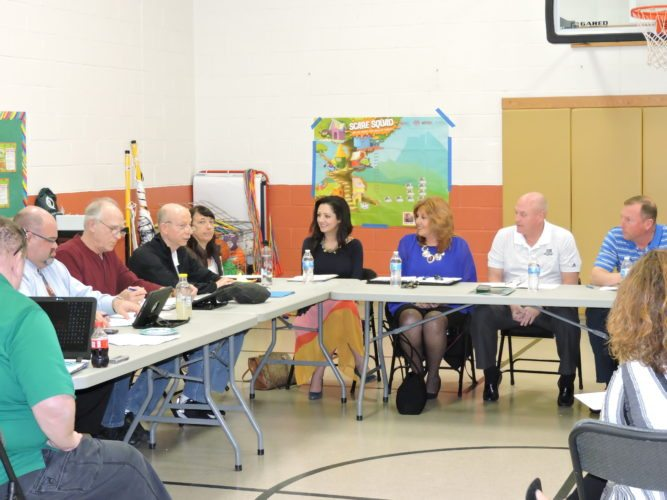 WORKSHOP — A workshop was held with the Hancock and Brooke county boards of education at L.B. Millsop Primary Tuesday to discuss future plans for the building that includes an alternative learning center to be operated by both counties.