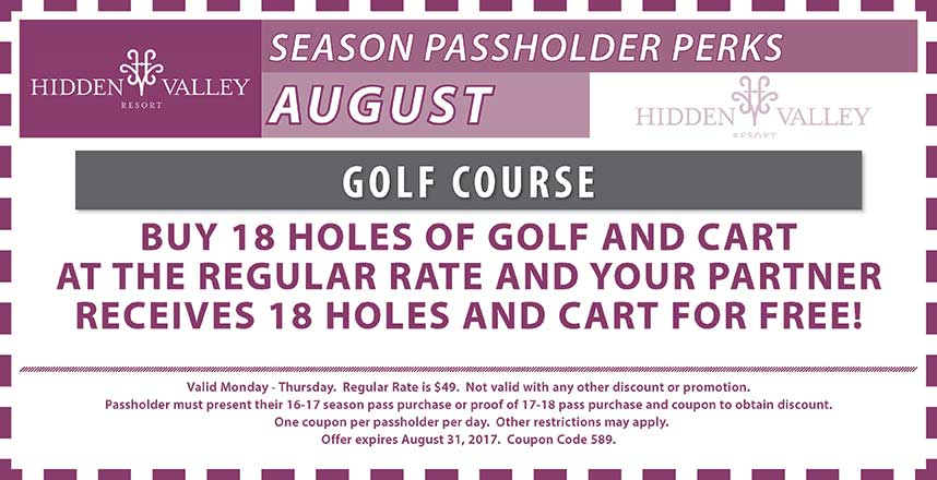BOGO 18 Holes of golf at the regular rate.  Valid Mon-Thurs