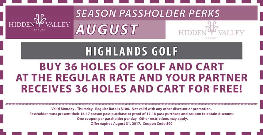 BOGO 36 Holes of golf at the regular rate.  Valid Mon-Thurs