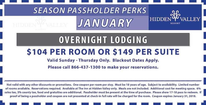 Overnight Lodging.  Sunday through Thursday, Blackout dates apply.  $104 per room or $149 per  suite