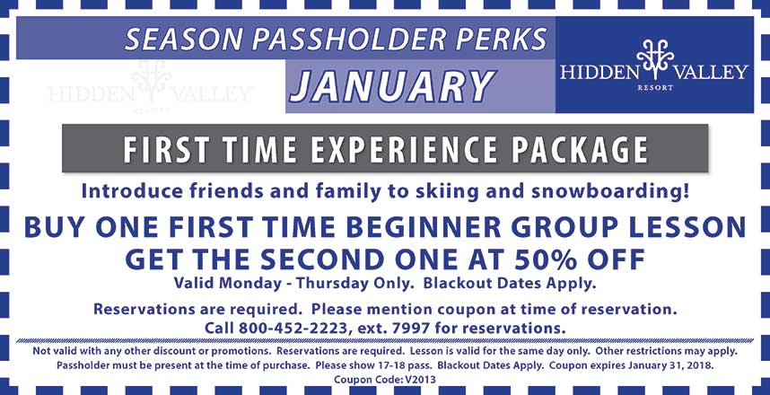 Buy one first time group lesson get the second at 50% off.  Valid mon-thurs only.  blackout dates apply.