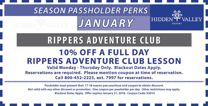 10% off a full day rippers adventure club lesson.  Valid Mon-Thurs.  Blackout dates apply.