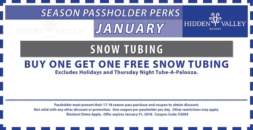 BOGO Snow Tubing.  Excludes holiday periods and Thursday night tube-a-palooza