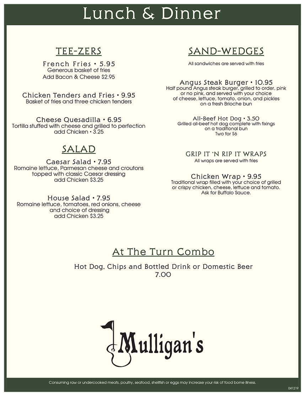 Mulligan's Menu