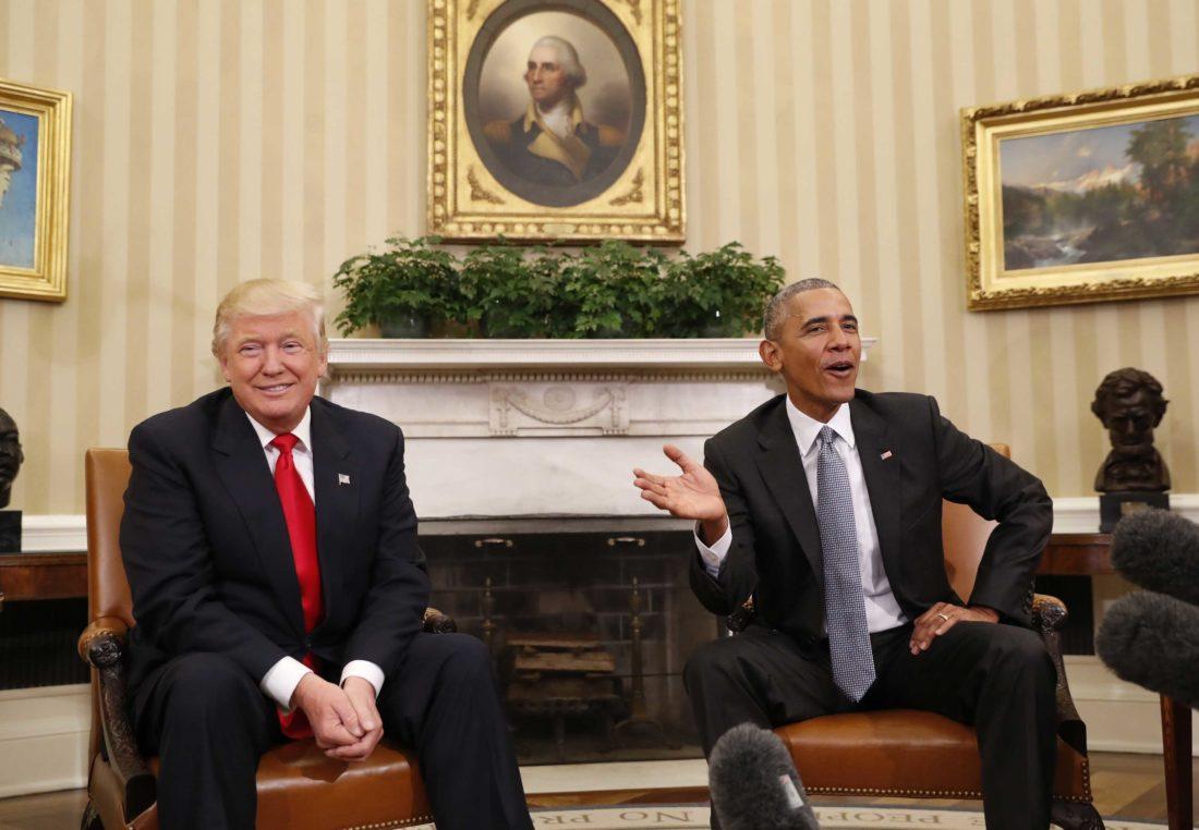PRESIDENT BARACK OBAMA meets with President-elect Donald Trump in the Oval Office of the White House in Washington. Trump's skepticism of technology marks a sharp contrast from Obama, whom he'll replace Jan. 20. (AP Photo/Pablo Martinez Monsivais, File)