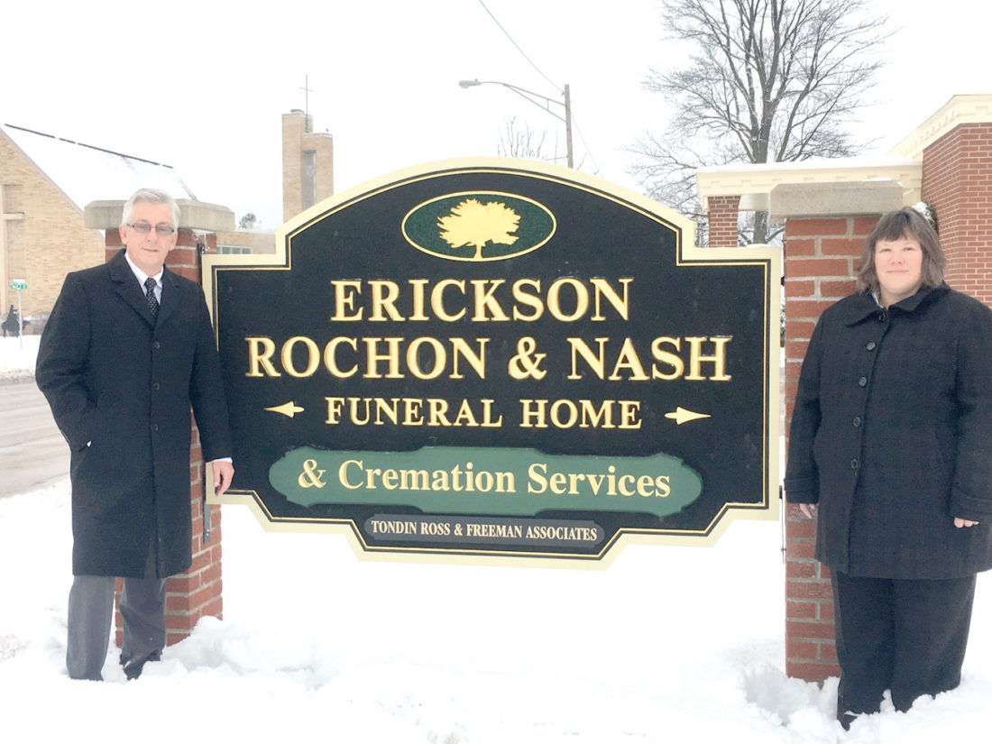 THOMAS NASH, LEFT, and Tammy Barrows, have announced the consolidation of Erickson-Rochon & Nash Funeral Home and Tondin-Ross & Freeman Funeral Home into one location at 901 Carpenter Ave., Iron Mountain.
