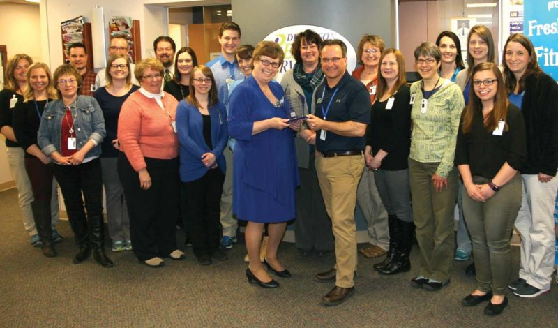 THE DICKINSON REHAB Services staff recently was honored with the Journey to Excellence traveling trophy. Shown here, from left, are Lanny Brown, Lauren Smith, Cathy Bonneau, Lawrence Pierce, Brian Kass, Jessica Geyser, Monica Goodreau, Edward Mathis, Jaime Paternoster, Ashley Bernard, Marcus Smithson, Erin McIntyre, chief of physician services Peggy Freeman, Bambi Mattson, rehab services manager Tim McGuire, Shirley Dishaw-Beck, Allyson Vanoss, Amy Giesen, Janet Dunlap, Jessica Roell, Paige Trindal and Maureen Garvaglia.