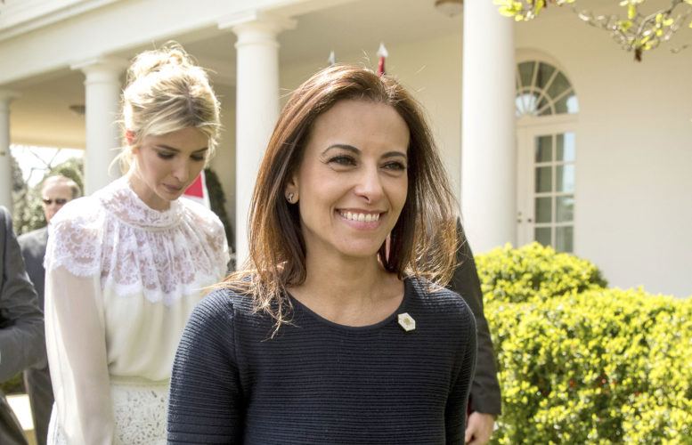 WHITE HOUSE SENIOR Counselor for Economic Initiatives Dina Powell, followed by Ivanka Trump, leave a recent news conference in the Rose Garden at the White House in Washington. (AP Photo/Andrew Harnik)