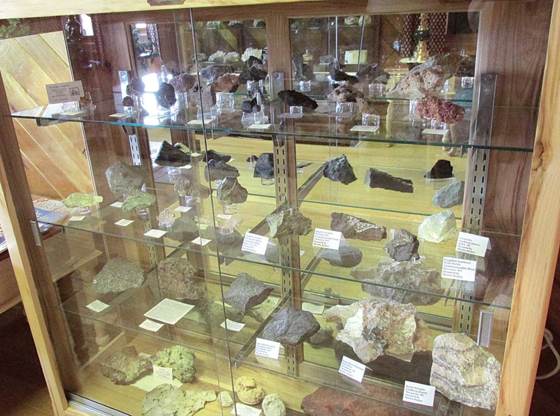 Pictured is one of the Northwoods Geology Club's specimen displays on the upper level of the Florence Natural Resources Center. They can be viewed 8 a.m. to 4 p.m. Monday through Friday and during the summer months from 9 a.m. to 3 p.m. on Saturdays.