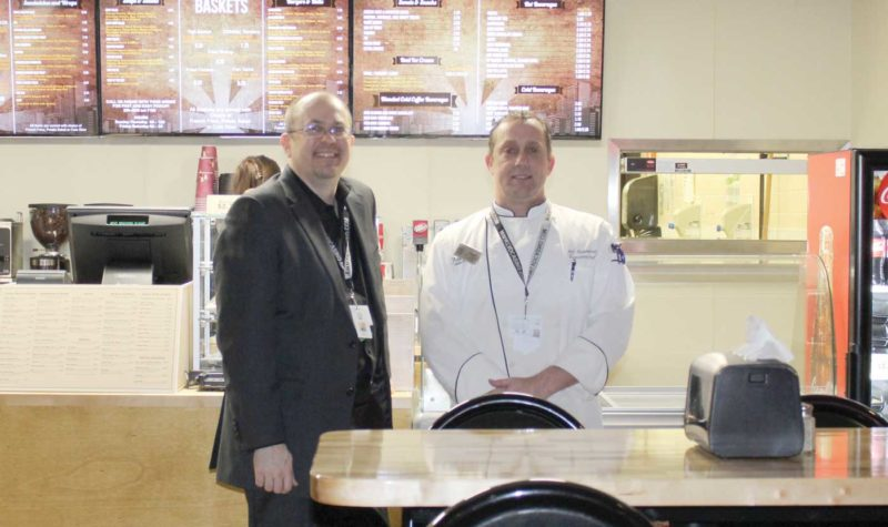 Lac Vieux Desert Resort & Casino's new food court has opened. Shown here, from left, at the new area are Gary Murrey, general manager and Jeff Astemborski, food and beverage director.