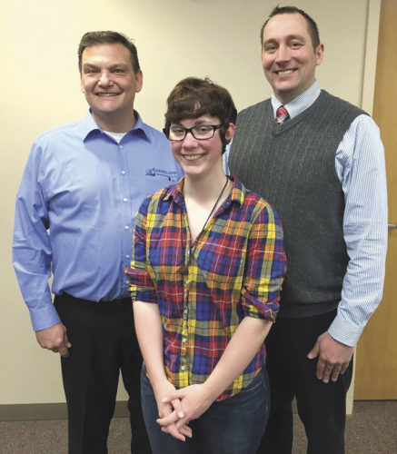 TONIA WILKEY, CENTER, is the recipient of the Danielson Insurance Scholarship for academic year 2016-17.  Larry Lambert, left, representing Danielson Insurance, and Kevin Carlson, right, vice president of Bay College West, recently met with Wilkey to congratulate her for receiving this award.