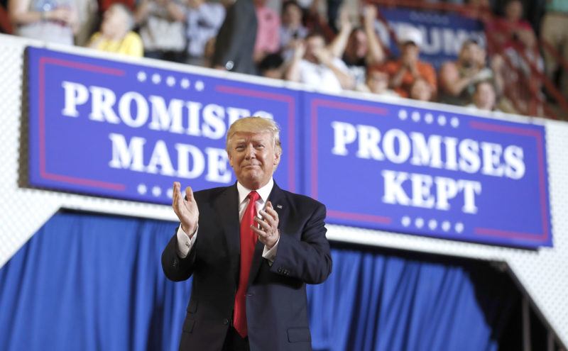 PRESIDENT DONALD TRUMP had a rally Saturday at the Pennsylvania Farm Show Complex and Expo Center in Harrisburg, Pa., on the 100th day of his presidency. (AP Photo/Carolyn Kaster)