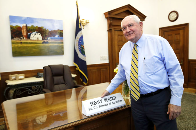 AGRICULTURE SECRETARY SONNY Perdue after an interview with The Associated Press at the Agriculture Department in Washington. (AP Photo/Jacquelyn Martin)