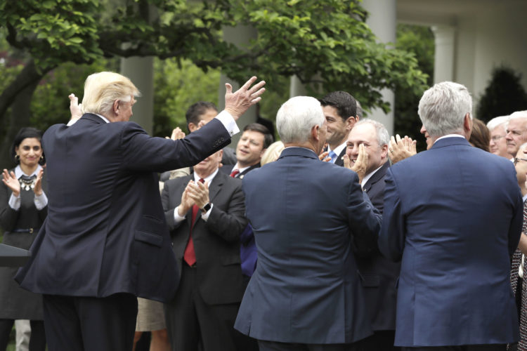 PRESIDENT DONALD TRUMP acknowledges House Speaker Paul Ryan of Wisconsin in the White House Rose Garden in Washington after the House pushed through a health care bill Thursday. (AP Photo/Evan Vucci)