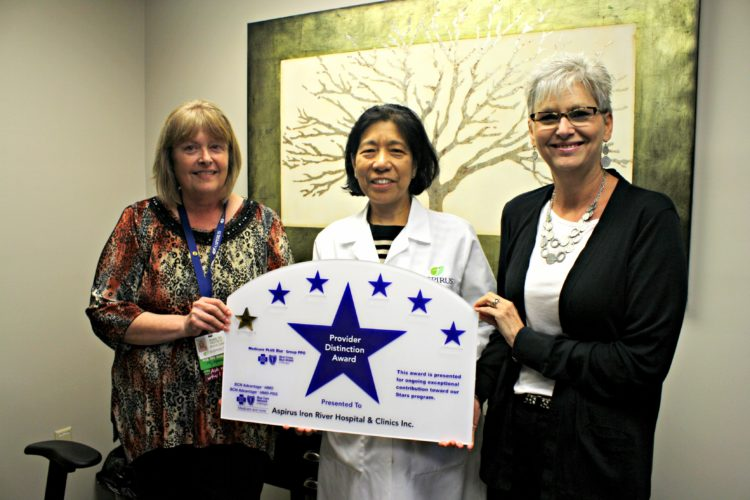 From left, are Robin Matchett, director of medical clinics at Aspirus Iron River; Dr. Marites Ansay, Aspirus Iron River physician; and Linda St. Arnauld, Blue Cross Blue Shield of Michigan. Ansay, a family medicine physician at Aspirus Iron River Hospital and Clinics, was awarded a Blue Cross PPO Provider Distinction Award.