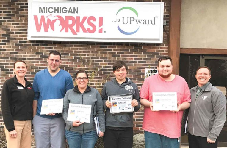 A series of workshops through the Career Launch initiative were held in April at Michigan Works with the graduates receiving an employability certification. Shown here from left are Erika Justus, Ryan Lobeck, Julie Burie, Dalton Lamb, Dakota DeClark and Jonathan Ringel. Not pictured is Barb Reisner, program developer.