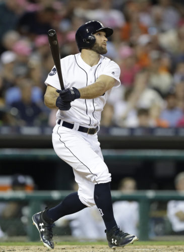 Detroit Tigers' Tyler Collins watches his three-run home run to right field during the fifth inning against the Baltimore Orioles on Wednesday in Detroit. (AP Photo/Carlos Osorio)