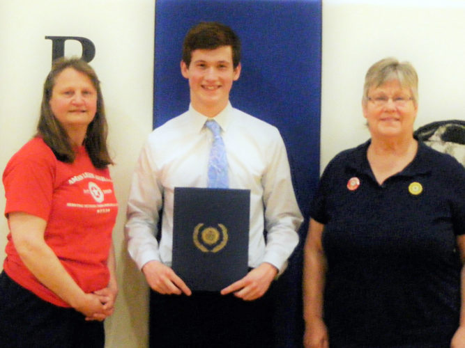 Daniel Griffin of Pembine is the scholarship recipient of American Legion Auxiliary Post 461 Pembine, Wis. for 2017. Pictured from left are Bev Szprejda, Griffin and Glenna Mulder.