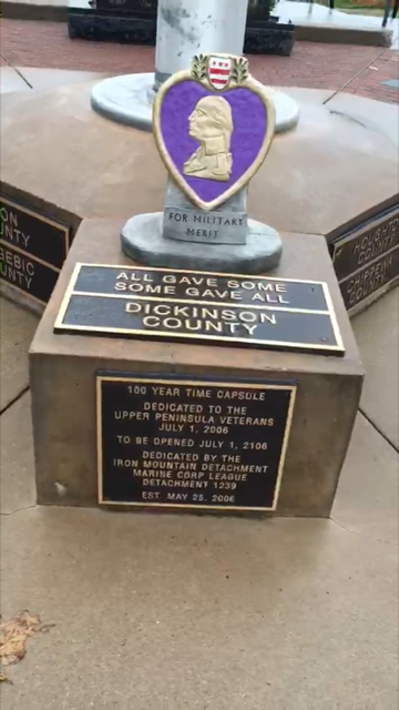 THE PURPLE HEART monument at the Upper Peninsula Veterans Memorial and Park before Thursday's theft. (Submitted photo)