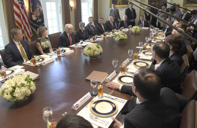 PRESIDENT DONALD TRUMP had lunch Tuesday with Republican Senators and White House staffers in the Cabinet Room of the White House. (AP Photo/Susan Walsh)