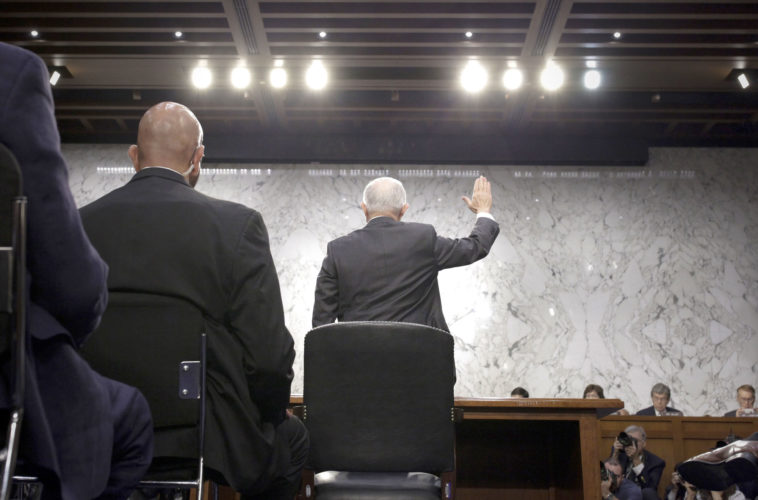 ATTORNEY GENERAL JEFF Sessions is sworn in Tuesday to testify before the Senate Select Committee on Intelligence. (AP Photo/Alex Brandon)
