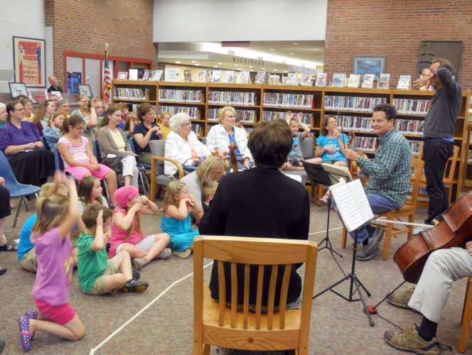 The Bergonzi String Quartet performs at the Dickinson County Library in 2016. The quartet returns to the library for a performance Friday.